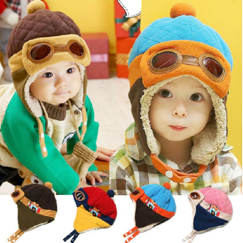 1Pcs Kids Hats Warm Cute Baby Toddler Girl Boy Pilot Aviator Cap Warm Soft Beanie Hat Bomber Casual Hats New Arrival