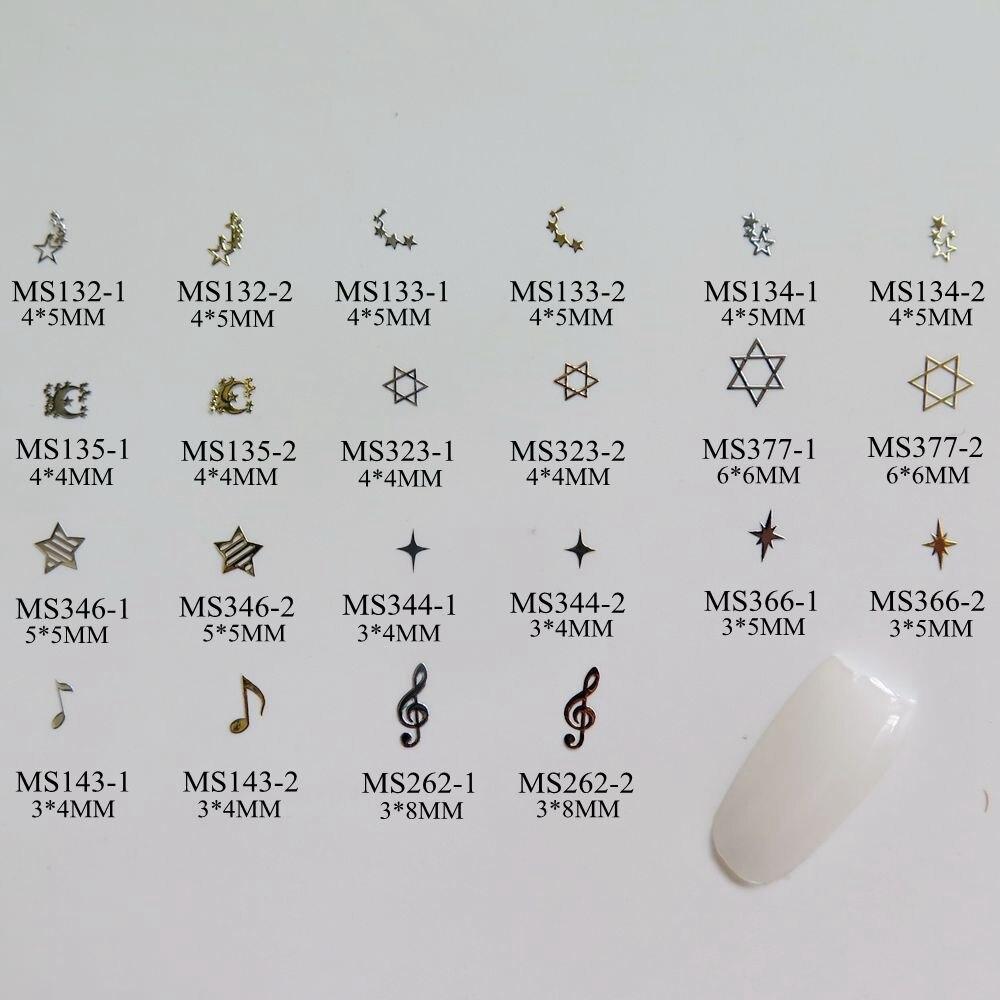 100pcs/bag Silver/Gold Star Moon Music-Sign non-adhesive Sof