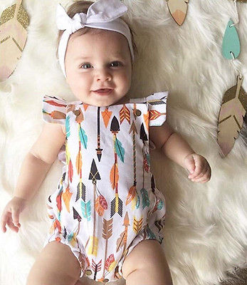 Cute Baby Romper Bodysuit Jumpsuit Rainbow Striped Girl Outfits Toddler Sunsuit