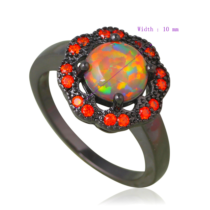 Orange Fire Opal Black Gold Tone