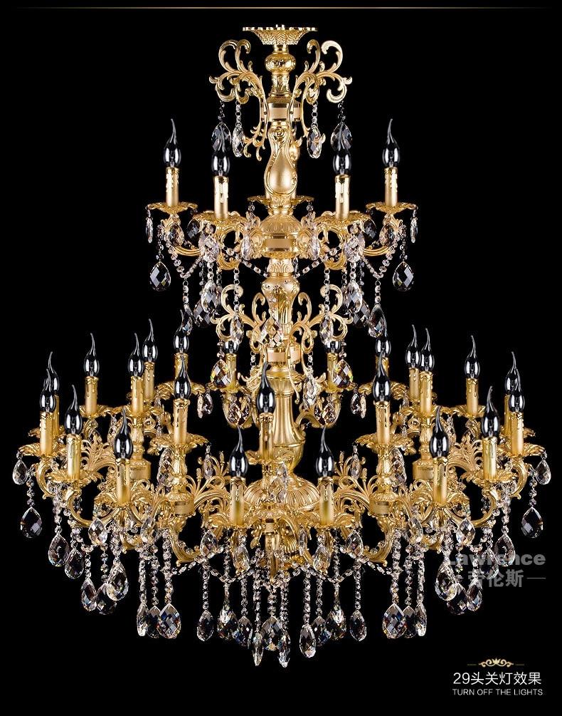 projekts antīkās 29 galvas zelta led lustra kristāla droplight - Iekštelpu apgaismojums - Foto 4