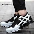 Zapatos de los hombres 2016 de la Cuña de los zapatos Que Caminan ocasionales Neta paño antideslizante de Cuero de moda Al Aire Libre chaussure homme sapato masculino tamaño 39-44
