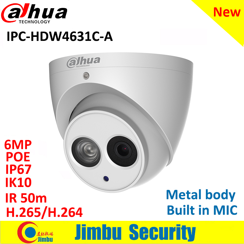 Dahua Ip Camera IPC-HDW4631C-A 6MP Dome Camera metal body POE CCTV camera H.265 Built-in MIC IR50m IP67 IK10