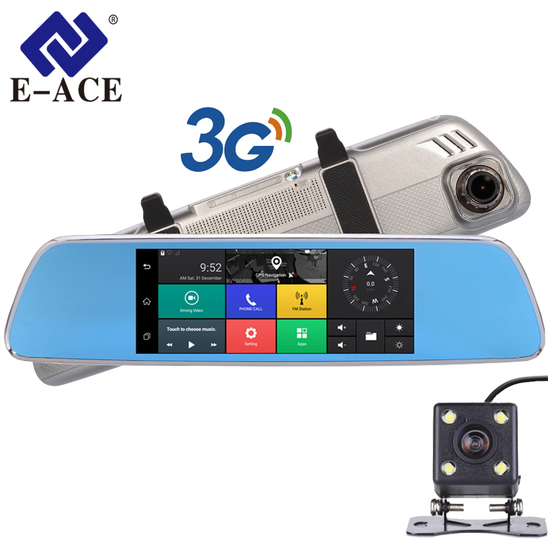 E-ACE Car Dvrs 7Touch Rearview Mirror 3G Android 5.0 Cameras GPS Bluetooth Handfree WIFI FHD 1080P16G Dual Lens Video Recorder e ace car dvr android touch gps navigation rearview mirror bluetooth fm dual lens wifi dash cam full hd 1080p video recorder