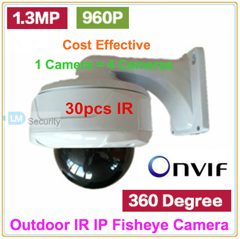 US $113 15 25% OFF|High End Weatherproof IR Dome IP Camera IPC 360 Degree  wide angle lens Camera 1 3MP Network Fisheye Camera 960P with bracket-in