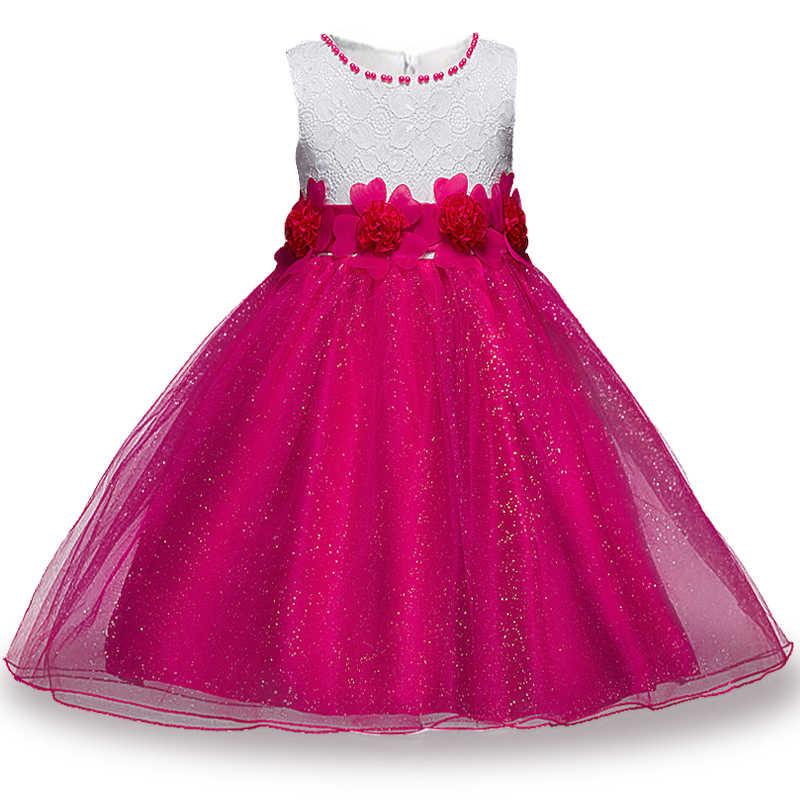 8d2f7e45 ... Berngi Red Princess Children Fancy Dress Ball Gown Lace Wedding Dresses  Girls Kids Party Wear Clothes ...