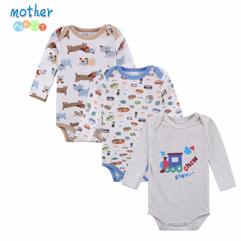 100% Cotton Baby Bodysuit 3pieceslot Autumn Newborn Cotton Body Baby Long Sleeve Underwear Next Infant Boy Girl Pajamas Clothes