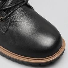 Top Quality Men Snow Boots 2018 Winter Genuine Leather Handmade Brand Warmest Men Winter Shoes #BG1568