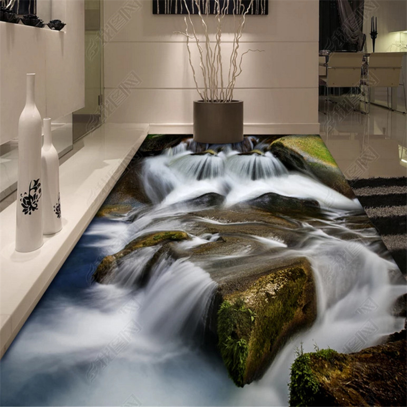 beibehang Custom fashion three dimensional waterproof pvc wallpaper stone path water bathroom floor tiles wall papers home decor in Wallpapers from Home Improvement