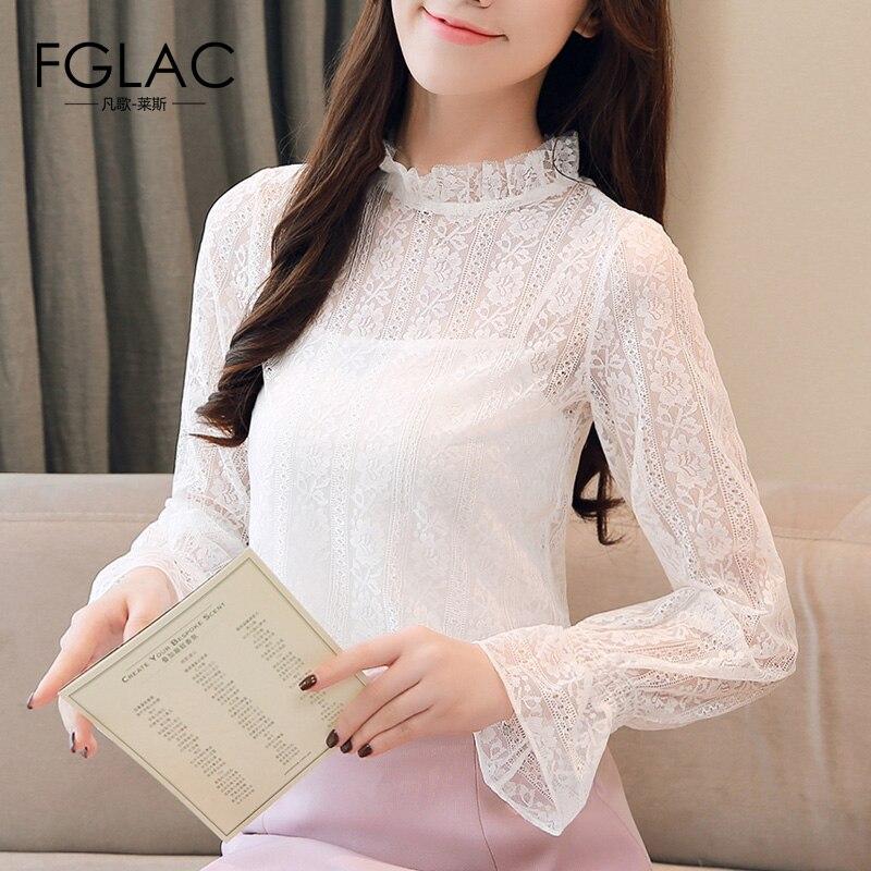 66fe03773ff FGLAC Для женщин шифоновая рубашка новая мода Повседневное Длинные рукава  выдалбливают кружева топы пикантные сетчатые перспектива
