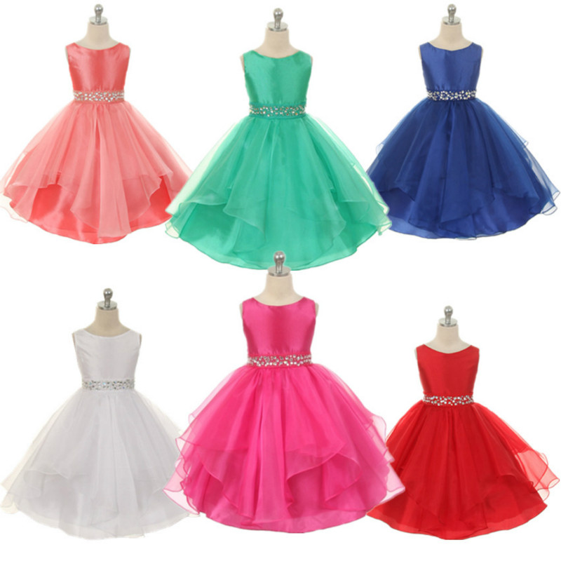 Kids Girls Sequined Belt Bow Formal Party Ball Gown Prom Princess Bridesmaid Wedding Children Tutu Dress Size 2-13Y GDR180