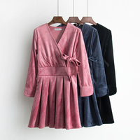 2018 New Spring Autumn New Style Ladies Waist Tie Belt Dress Ladies Formal Velvet Pleated Dress