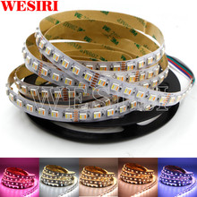 5M Rgbcct 5IN1 Led Strip Licht Rgb + Wit + Warm Wit 60Leds/M 5050 Smd Dual wit Temperatuur Verstelbare 12Mm Pcb DC12V/24V