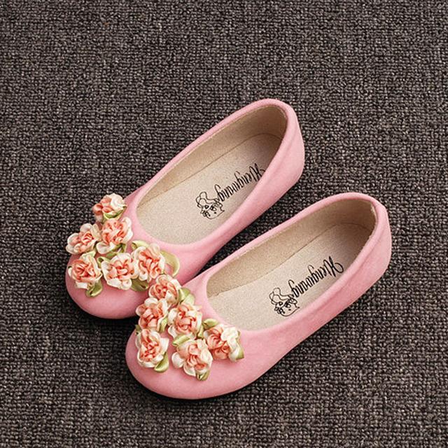 2017 outono crianças meninas flores shoes slip on flats meninas de flor da princesa das meninas crianças shoes crianças meninas ballet shoes