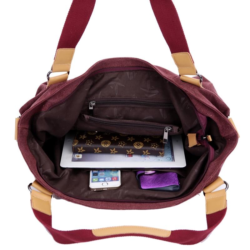New Women Canvas Shoulder Bags High Quality Zipper-front Travel Shopping Crossbody Bag Female Handbags 13.8 Inch