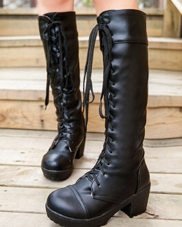 Mujer 35 Señora Moda Zapatos 43 Negro 4128 blanco Blanco Más Martin 2015 Cordones Nueva Botas Negro Tamaño Cosplay O188Ex