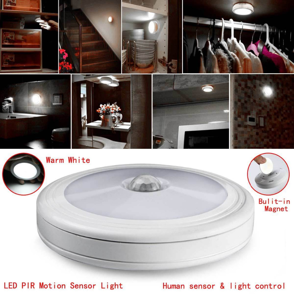 PIR Motion Sensor Magnetic Infrared 6LED Night Light Auto On/Off Indoor/Outdoor Passageway Stairway Wardrobe Home Battery Power