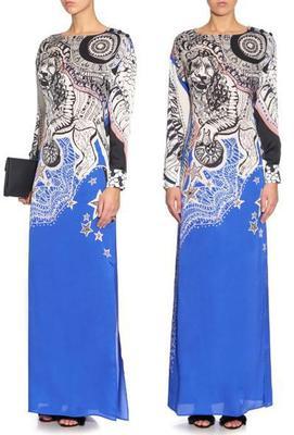 Passerelle de mode européenne montre des signes imprimés robe longue élastique
