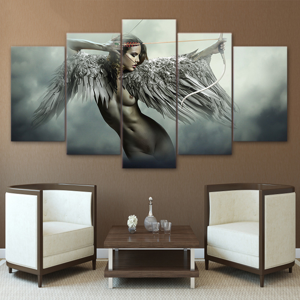 Canvas HD Prints Wall Art Pictures 5 Pieces Sets Fantasy Angel Warrior Wing Paintings Home Decor Anime Girl Posters Framework 1
