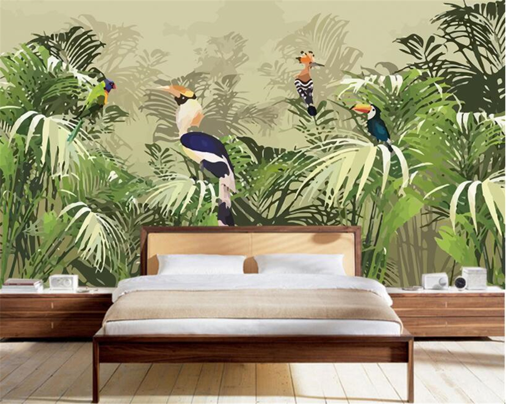 beibehang 3D Wallpaper Retro Tropical Rainforest Parrot Palm Leaf Living Room TV Background Wall wallpaper for walls 3 d beibehang 3D Wallpaper Retro Tropical Rainforest Parrot Palm Leaf Living Room TV Background Wall wallpaper for walls 3 d