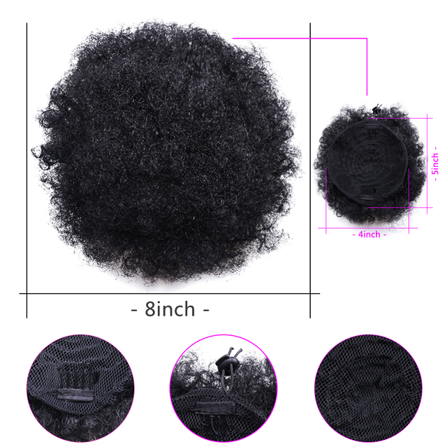 High Afro Puff Ponytail Drawstring Chignon Hairpiece Short Synthetic Kinky Curly Fake Hair Bun Updo Clip in Hair Extensions 5
