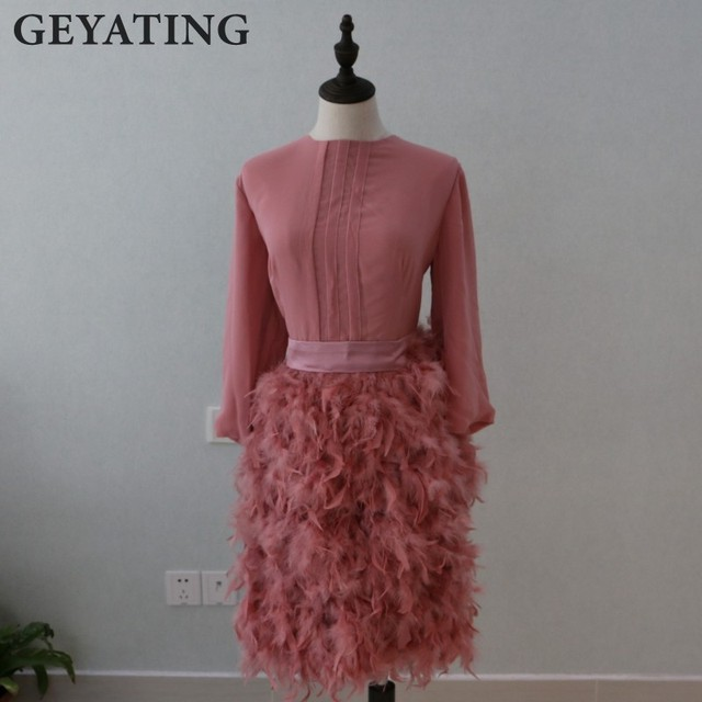 Elegante Feder Rosa Abendkleid 2017 Knielangen Formale Abendkleider ...