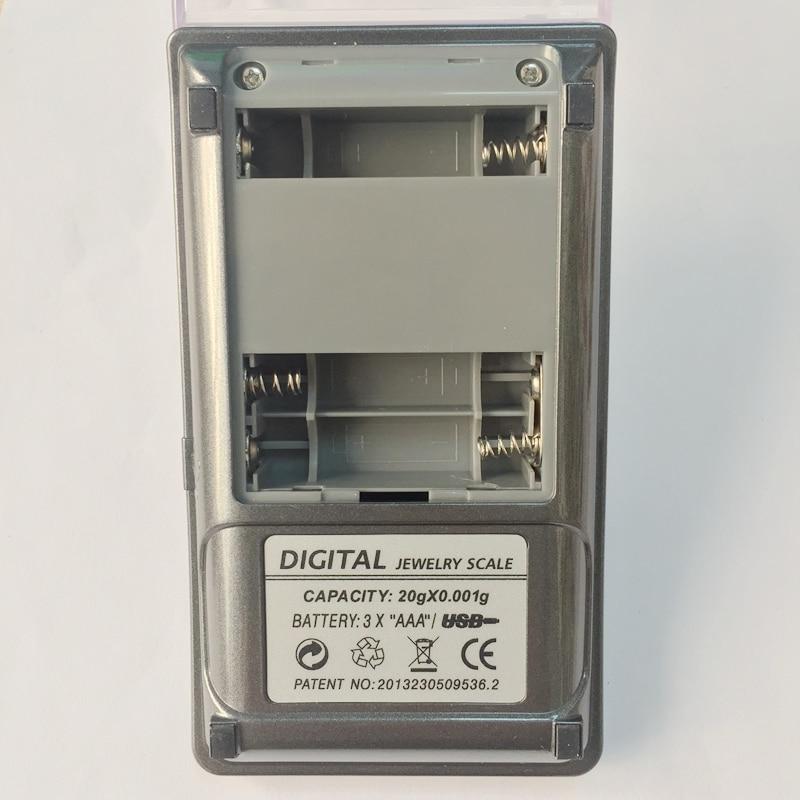LCD numérique bijoux échelle 30G 0.001g gramme milligramme échelles laboratoire diamant USB puissance précision poids Balance tactile fond avec boîte - 5