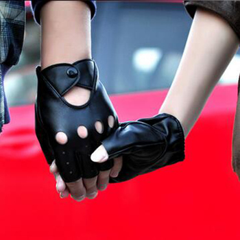 2017 Hot Sale Driver Night Club Couples Gloves Gothic Punk Rock Show PU Leather Half Finger Fitness Gloves G207