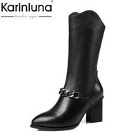 KarinLuna Top Quality Fashion Genuine Leather Buckle Size 34 42 Women Shoes Woman Casual Mid Calf