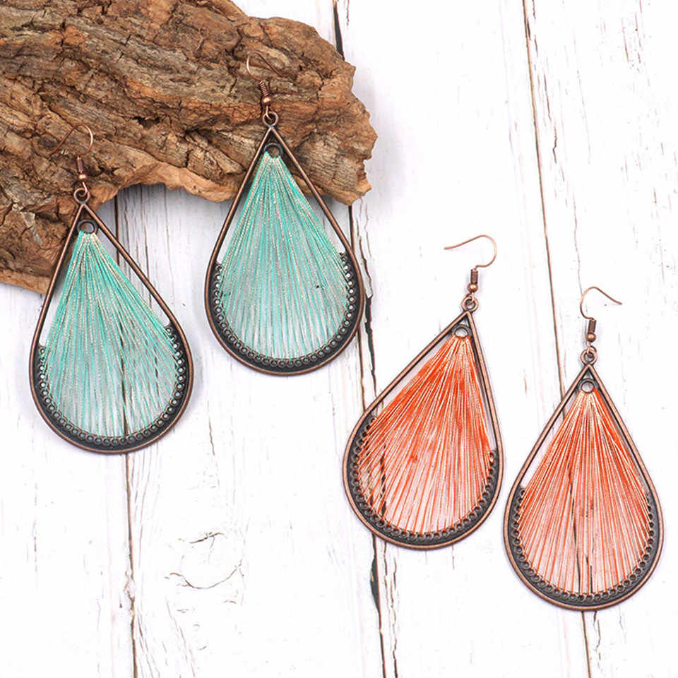 Statement big water drop earring jewelry female New fashion creative colorful cotton handmade earrings for women brincos gifts