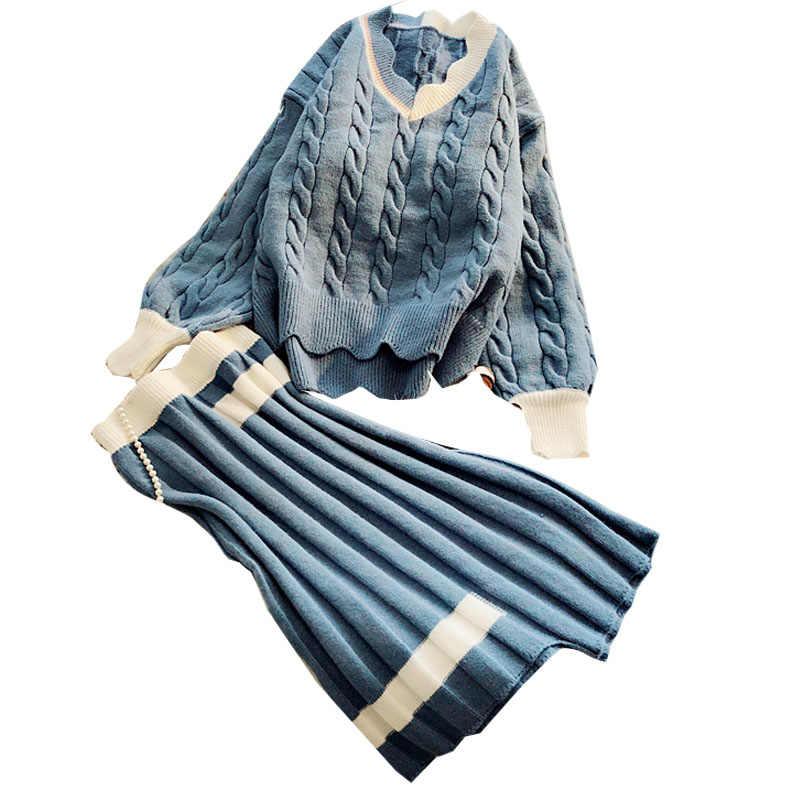 2019 nieuwe vrouwen 2 stuks rokken sets ruches v-hals lantaarn mouwen gebreide truien en geplooide losse rokken lady elegant suits