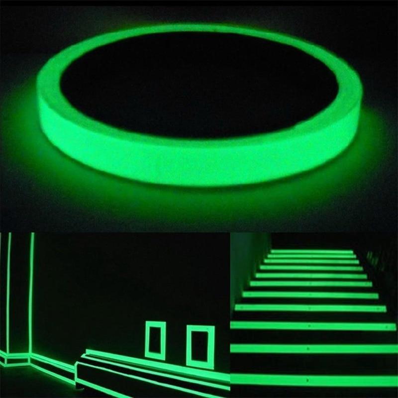 10mm Leucht Band Nachtsicht Glow In Dark Selbst-klebe Warnband Sicherheit Sicherheit Home Dekoration Bänder 2019 Exquisite In 10 M Verarbeitung
