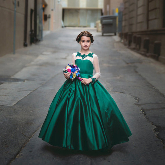 New Emerald Green Girls Pageant Dress For Teens Ball Gown Flower