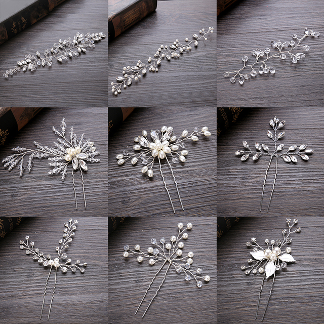 FORSEVEN Wedding Crystal Pearl Hair pins For Silver Bridal Hair Accessories Fash
