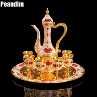 PEANDIM Wedding Decor Ideas Wine Sets Gold Plate Tea Sets Bar Hotel Coffee Tea Sets 8pcs Include 1pc Pot + 1pc Tray + 6pcs Cups