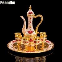 PEANDIM Wedding Decor Ideas Wine Sets Gold Plate Tea Sets Bar Hotel Coffee Tea Sets 8pcs Include 1pc Pot + 1pc Tray + 6pcs Cups