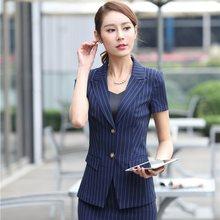 Mode Gestreiftes Kurzarm Professional Business Blazer Mantel Jacken  Weibliche Tops Outwear Blaser Uniformen Plus Größe 3XL bef0078377