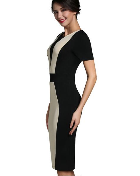 Sally's Fashion Store Womens Elegant Sexy O-neck Short Sleeve Pinup Patchwork Bandage Bodycon Office Dress Knee-length Pencil Dress Wear to Work