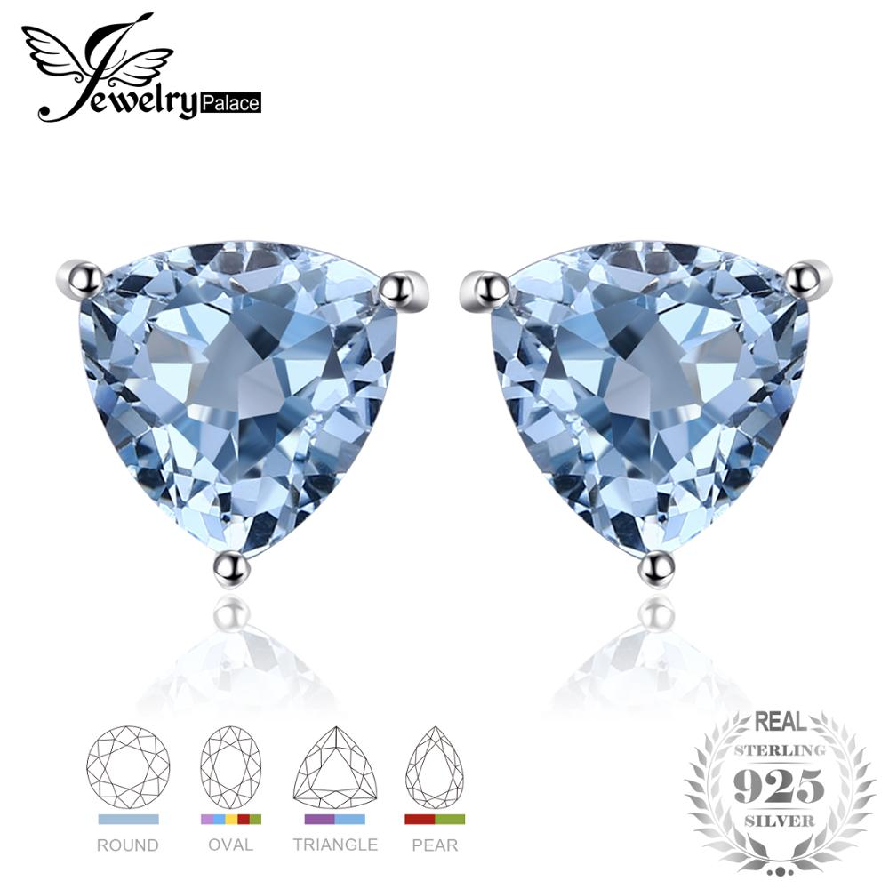 JewelryPalace Sky Blue Topaz 925 Sterling Silver Combination Stud Earrings For Women Beatuiful Jewelry 2018 New Hot SaleJewelryPalace Sky Blue Topaz 925 Sterling Silver Combination Stud Earrings For Women Beatuiful Jewelry 2018 New Hot Sale