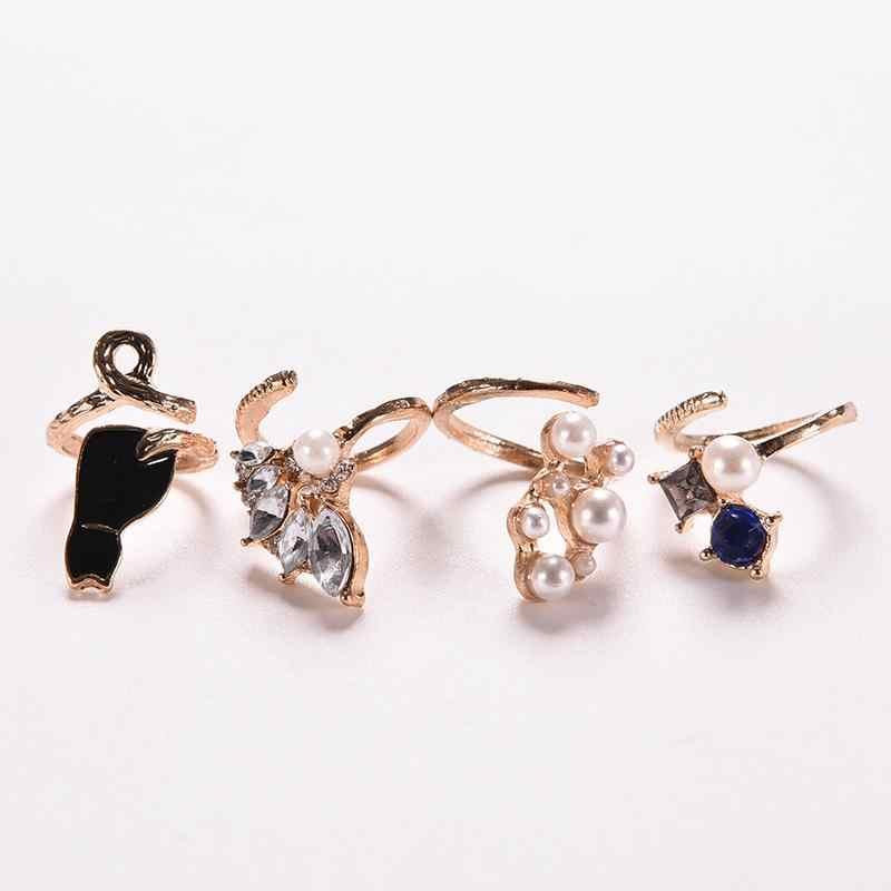 1 set תכשיטים ווג נייל טבעות שיק Knuckle טבעות ייחודי סגנון קריסטל שחור חתול פרל טבעות סט לנשים
