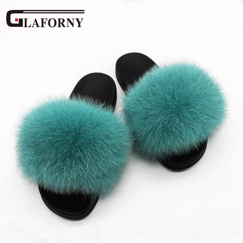 Glaforny 2018 Kids Real Fox Fur Girls Slipper Spring Summer Natural Fur Slides Children Indoor Outdoor Fashion Shoes Luxury Fox 2019 New Fashion Style Online Apparel Accessories