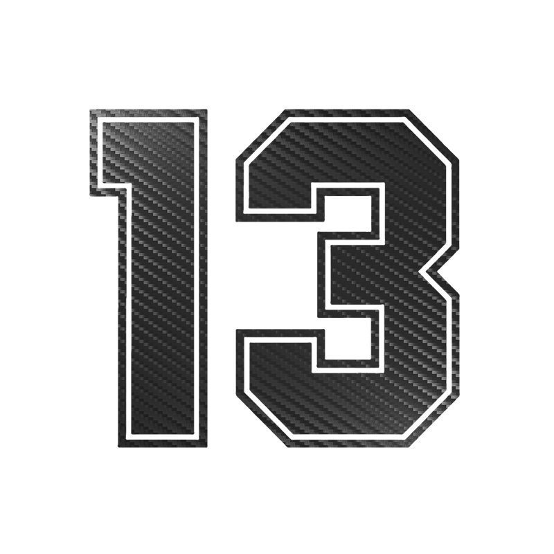 15*13.7cm Number 13 Carbon Fiber Funny Car Sticker Vinyl Decal Auto Car Stickers and Decals Sticker on Car Styling Decoration-in Car Stickers from Automobiles & Motorcycles