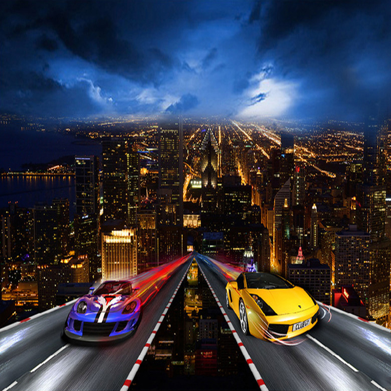 Custom Photo Wallpaper 3D Car City Night View Large Mural Wall Papers Home Decor Living Room TV Background Wall Painting Paper custom 3d wall mural wallpaper for bedroom photo background wall papers home decor living room modern painting wall paper rolls