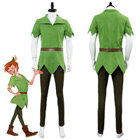 Movie PeterPan Peter Pan Cosplay Costume Male Version Green Top Pants Hat Belt Halloween Carnival Costumes Custom Made Adult