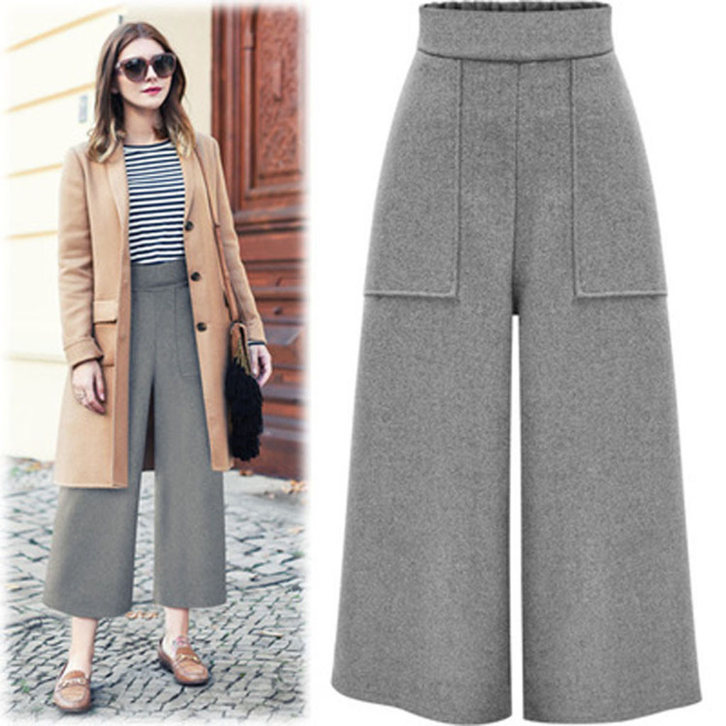 2019 pantalon femme Womens Winter Straight   Leg   Trouser   Pant   Casual   Wide     Leg     Pants   with Pockets High Quality Female   Pants