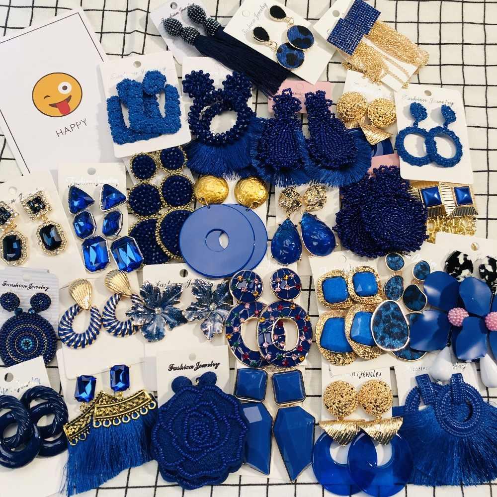 Miwens 2019 Za New Dark Navy Blue Color Boho Vintage Metal Tassel Resin Crystal Beads Drop Dangle Earrings Women Jewelry A441