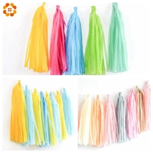 5PCS/Lot DIY Tissue Paper Tassels Garland For Home Garden Wedding Happy Birthday Party Decoration  New Year Family Supplies