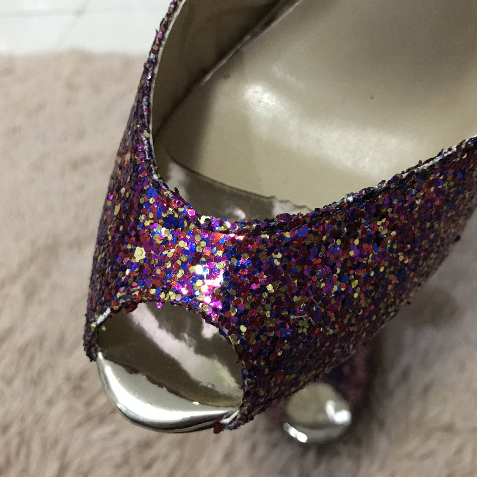 Women Stiletto Thin Iron High Heel Sandals Sexy Sling Back Peep Toe Purple Glitter Party Bridal Ball Lady Shoe 3845 g1 in High Heels from Shoes