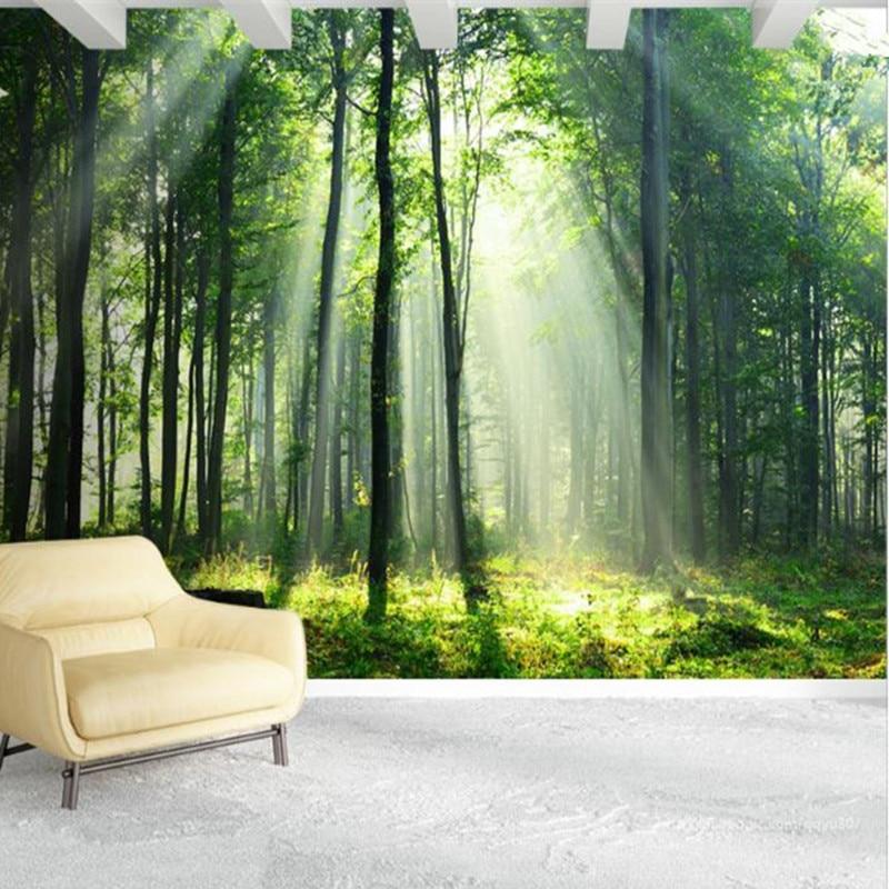 nature bedroom mural forest landscape living