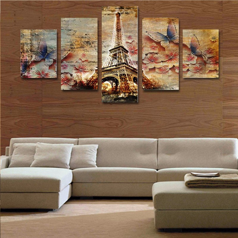 5 piece canvas art 3d butterfly tower home wall decor Interiors by design canvas art